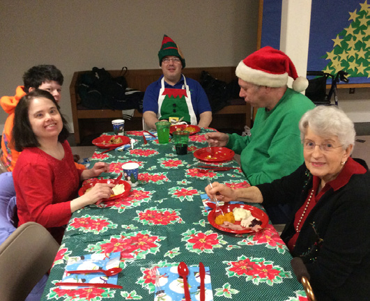 Chest Support Of The Friday Night Fun Club Provides For Social Events For Local Special Needs Teens And Adults. Here Are Some Festive Partygoers At The Annual Holiday Party.
